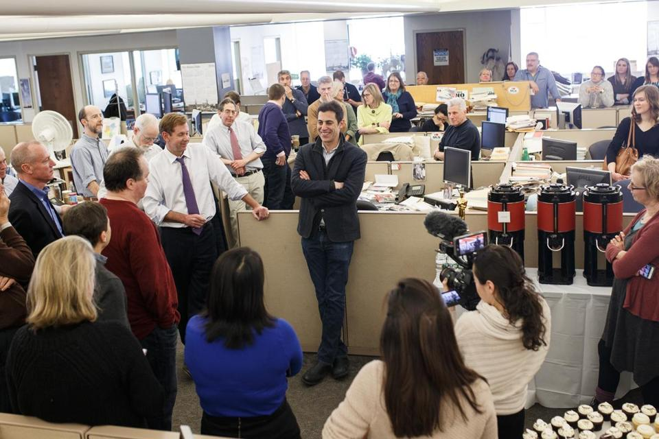 "Boston, MA - 4/5/2016 - Oscar winning screen writer Josh Singer speaks about the film ""Spotlight"" in the newsroom of the Boston Globe in Boston, MA, April 5, 2016. Singer is one of the Oscar winners for ""Spotlight"". (Keith Bedford/Globe Staff)"